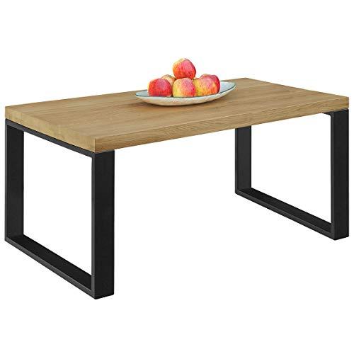 Comifort MS11AH - Mesa de Centro Salon de madera de Roble Macizo, estilo industrial, mesas auxiliares, mesitas nido 110x55x45 cm (AHUMADO)