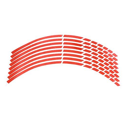 LIOOBO Cinta Adhesiva de la Etiqueta de la Raya de la llanta Reflectante para Ruedas de automóviles de Motocicleta (Rojo)