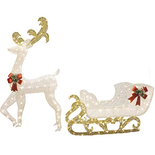 Joiedomi 5ft Fabric Christmas Reindeer with 3ft Sleigh 215 LED Warm White Yard Lights for Christmas Outdoor Yard Garden Decorations Christmas Event Decoration Christmas Eve Night Decor