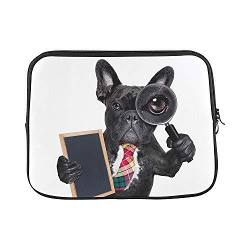 QuqUshop Diseño Personalizado Bulldog francés Perro Buscando hallazgo espía Manga Suave Funda para computadora portátil Bolsa Piel para Macbook Air 11'(2 Lados)