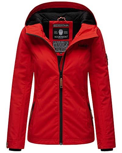 Marikoo Damen Übergangsjacke Outdoor Windbreaker Regenjacke Fleece Jacke Gefüttert Kapuze XS - XXL BROMBEERE (Rot, M)