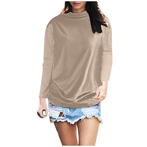 Junjie, dames tops, dames effen kleur plus grootte losse coltrui lange mouw katoen, effen casual blouse top t-shirt