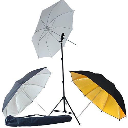 DynaSun KUT3 Kit Estudio Profesional con Soporte Trípode, Adaptador de Flash y Paraguas Blanco Plata y Oro Iluminador Ideal para Fotos y Video de Estudio