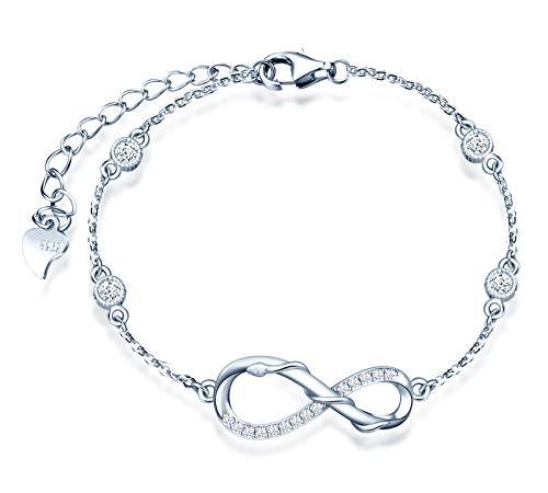 INFINIONLY Bracciale da donna ragazza, Parure di gioielli Bracciale in argento sterling 925, bracciali con simbolo dell'infinito a carica di serpente, zirconio, argento