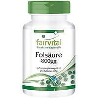 Ácido fólico 800mcg Comprimidos - Vitamina B9 hidrosoluble - fundamental antes y después del embarazo - concepción - Calidad Alemana