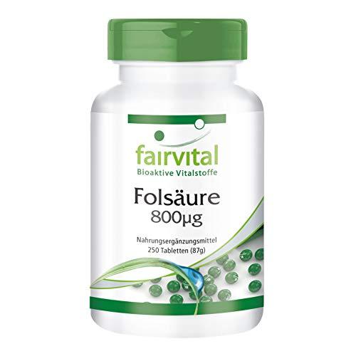 Acide folique 800mcg - 250 comprimés - vitamine B9 hydrosoluble (acide folique) - substance pure