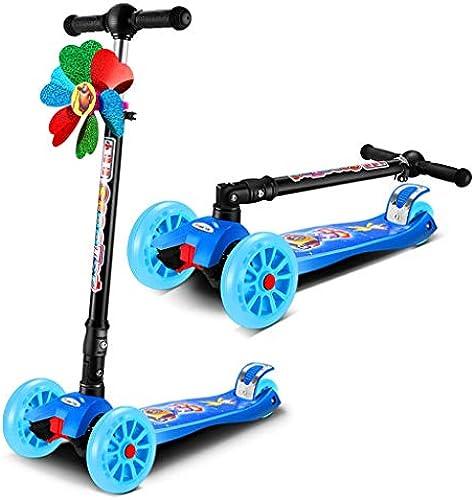 Kinder-Dreirad-Tretroller - Perfekt für Kinder im Alter von 2-12 LED-Leuchtr rn, faltbares Design, verstellbare Griffe und leichte Konstruktion (Farbe   Blau)