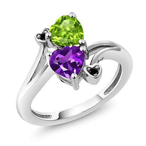 Gem Stone King 925 Sterling Silver Green Peridot and Purple Amethyst Women Ring (1.51 Ct Heart Shape Gemstone Birthstone) (Size 8)