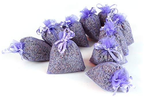 Quertee 10 x Lavendelsäckchen mit duftenden Bio Lavendel aus Frankreich - Mottenschutz und Lavendelduft - 100 g französiche Bio Lavendelblüten