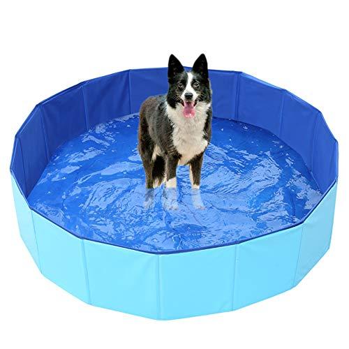 Ruick - Piscina pieghevole per cani, in PVC, per animali domestici, per animali domestici (61 x 20 cm, blu)