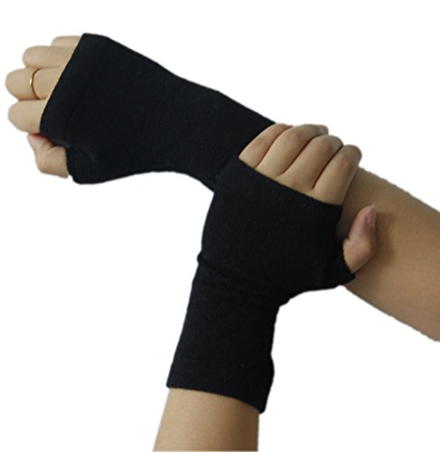 prettystern - gestrickte 100% Kaschmir Fingerlose Handschuhe Pulswärmer Stulpen Weich Warm - Schwarz