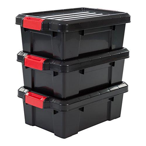 Iris 3er-Set Aufbewahrungsboxen Power Box, SK-130, mit Klickverschlüssen, Plastik, schwarz, 12,5 L, 46 x 29,7 x 16 cm