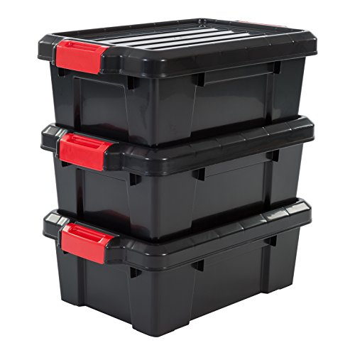 IRIS, 3er-Set Aufbewahrungsboxen 'Power Box', SK-130, mit Klickverschlüssen, Plastik, schwarz, 12,5 L, 46 x 29,7 x 16 cm