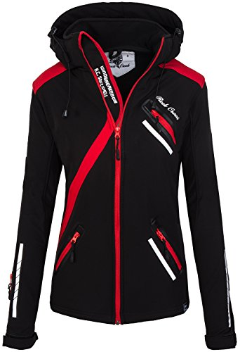 Rock Creek Damen Softshell Jacke Übergangs Jacke Windbreaker Regenjacke Damenjacken Outdoorjacke Windjacke D-371 Schwarz XXL