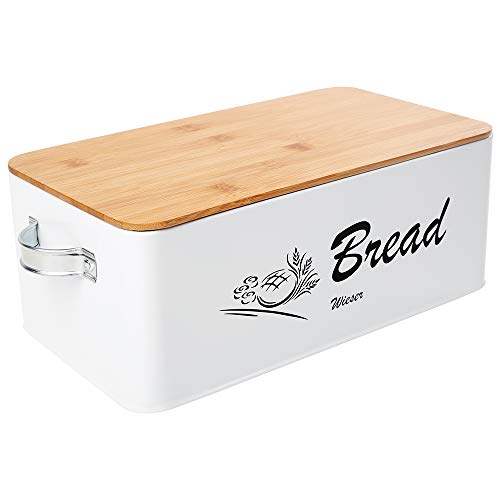 Bread Bin with Handles - Reinforced Stainless Steel Bread Box for Kitchen Countertop - Bread Storage with Bamboo Cutting Board Lid - Space Saving Bread Holder for Kitchen Counter