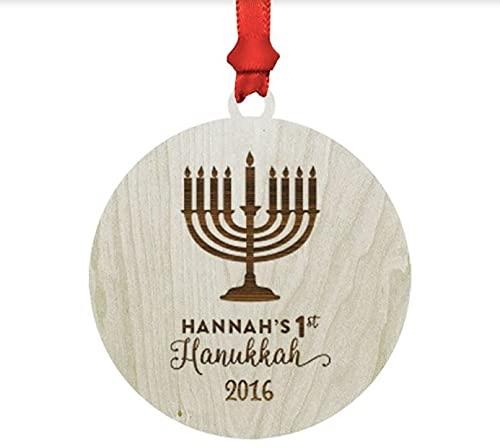 Andaz Press Personalized Laser Engraved Wood Hanukkah Ornament, Baby's First Hanukkah 2021, Round, Menorah, 1-Pack, Custom Name