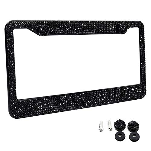 Zone Tech Shiny Bling License Plate Cover Frame - Classic Black Sparkly Crystal Bling Premium Quality Novelty/License Plate Frame with Mounting Screws