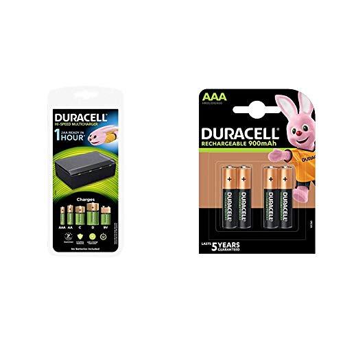 Duracell Caricabatterie da 1 Ora, 1 Conteggio & Rechargeable AAA 900mAh Prericaricate, Batterie Ministilo Ricaricabili 900 mAh, confezione da 4
