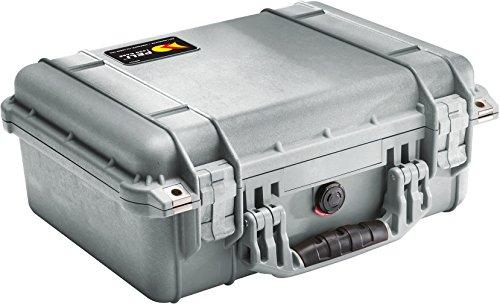 PELI 1450 Maleta estanca de polipropileno a prueba de golpes para dispositivos frágiles, IP67 estanca, 15L de capacidad, fabricada en Alemania, sin espuma, color gris