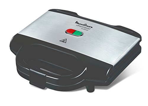 Moulinex Ultracompact - Sandwichera, 700 W, acero inoxidable, negro/plata