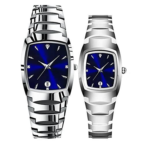 SIMEISM Amor 2 unidsquartz relojes de pulsera para los amantes de acero de tungsteno color café oro moda pareja relojes para hombres y mujeres relojes