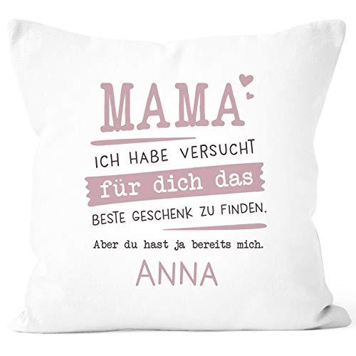 SpecialMe® Kissen-Bezug personalisiertes Geschenk Spruch Papa/Mama/Oma/Opa Ich Habe versucht Finden anpassbarer Name Dekokissen Mama - 1 Name weiß 40cm x 40cm