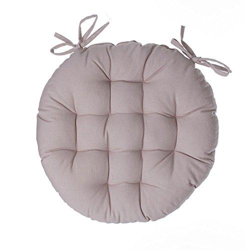 iDiffusion Alix - Lote de 2 cojines para silla redondos, diámetro 38 cm, color lino