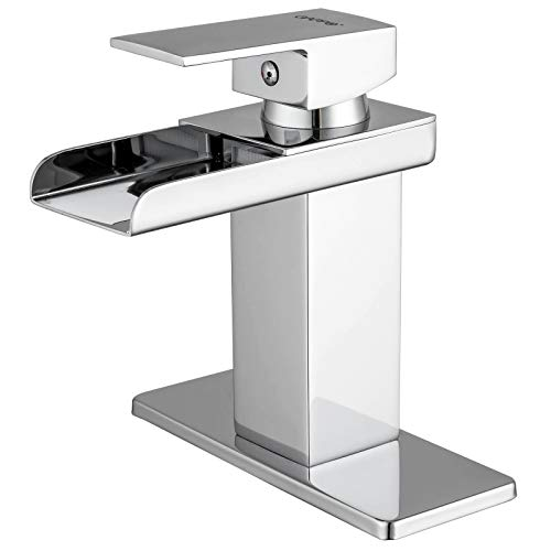 GAPPO Waterfall Bathroom Faucet Polished Chrome Single Handle Commercial Vanity Lavatory Faucets Basin Mixer with Deck Mount