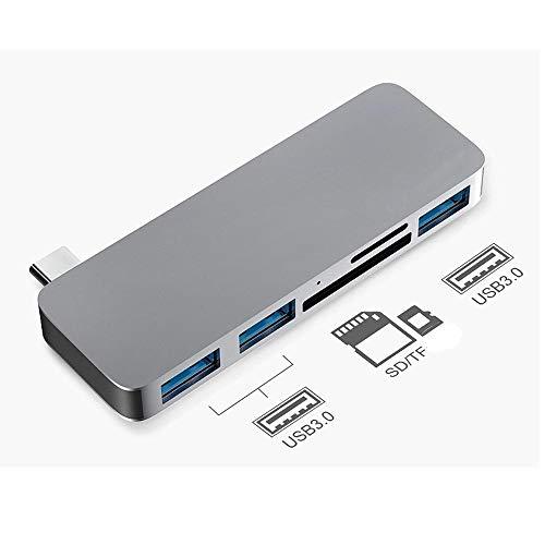 WNN-URG Hub USB, 5 en 1 Multi-Puerto de Aluminio Tipo Adaptador del Eje C (Gris) con 3 Puertos USB 3.0 y Lector de Tarjetas SD/TF URG
