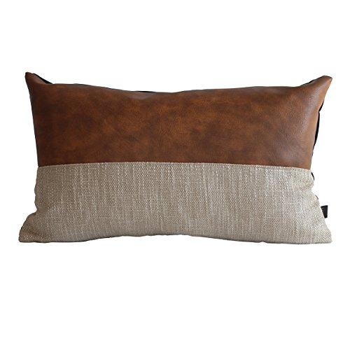 Kdays Halftan Lumbar Pillow Cover Cognac Leather Decorative Throw Pillow Case Farmhouse Rectangular Sofa Couch Cushion Covers Modern Minimalist Color Block Pillow Cover 12x20 Inches
