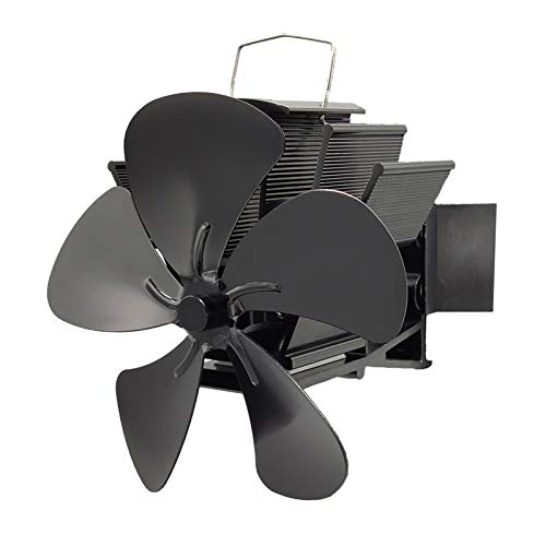 N/A. Hitzebetriebener Ofenventilator mit 5 Flügeln, Wandmontage, mit magnetischem Thermometer, effiziente Wärmeverteilung, leise für große Räume