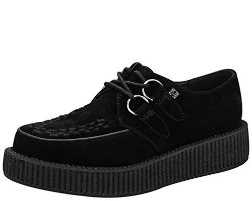 T.U.K. Shoes Hombres De Ante Gris De Las Mujeres con Negro Entrelazado Viva Enredadera Baja Suela