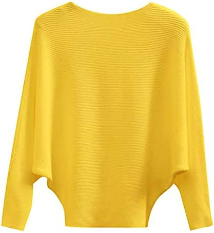 GABERLY Boat Neck Batwing Sleeves Dolman Knitted Sweaters and Pullovers Tops for Women Yellow product image