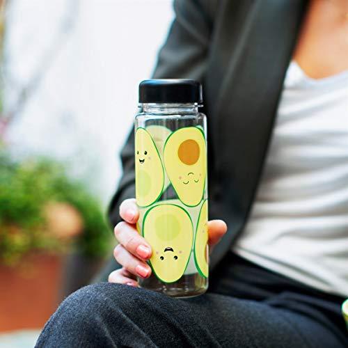 Botella de agua transparente con aguacates sonrientes, 500 ml
