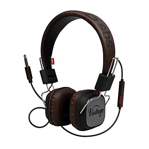 SBS Auriculares DJ Vintage de Cable estéreo con botón de Respuesta y Fin de Llamadas y micrófono, diseño años 70, Diadema y Auriculares Acolchados