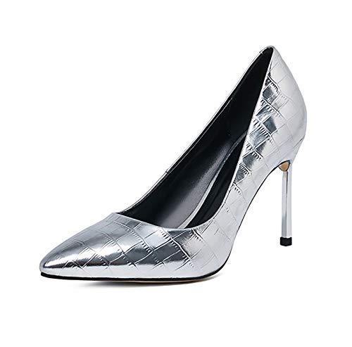 QSMGRBGZ Zapatos de tacón alto para mujer, 9 cm, punta fina, zapatos de tacón fino, sexy, para primavera, color plateado, 41 EU