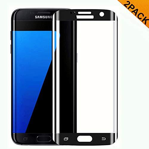 Haikingmoon Galaxy S7 Edge Panzerglas Schutzfolie [2 Stück],[Blasenfrei] [Voller Displayschutz] Panzerfolie Anti-Kratzen Panzergläser Glas Folie für Samsung Galaxy S7 Edge [Schwarz]