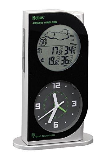 Mebus Funkwetterstation mit Wetterprognose, silber/schwarz, 10326