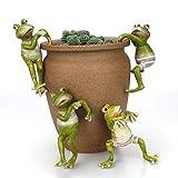 zdfgv 4 unids/Set Ranas trepadoras Creativas bonsái Decorativo Colgante de Rana decoración de jardín al Aire Libre para el Escritorio del hogar decoración de jardín Adorno 5 * 6 * 11 cm