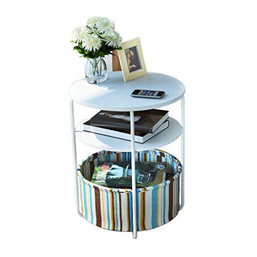 Mesa de centro Mesas laterales portátiles bandeja redonda Tres Pisos móvil más pequeño de café Tabla ordenador Soporte Doble tabla del lado del sofá con la cesta del almacenaje Tablas de café pequeñas