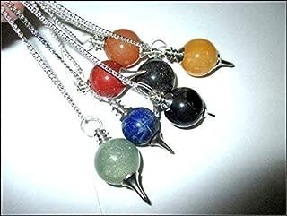 Jet Gemstone 7 Ball Chakra Pendulum Set Genuine Healing Reiki Chakra Balancing Good Luck Meditation
