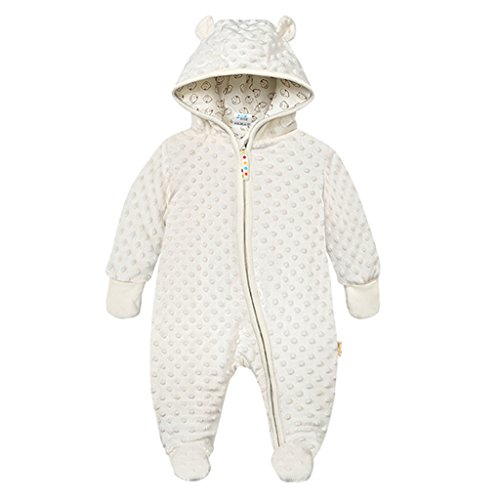 Baby Winter Fleece Overall mit Kapuze Schneeanzüge Footed Strampler Spielanzug Jumpsuit, Beige 6-9 Monate