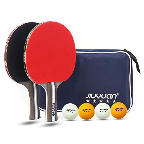 JIUYUAN Professioneller Tischtennisschläger Set,Tischtennisschläger mit Bällen, 2 5-Stern Tischtennisschläger und 4 Premium 3-Sterne Tischtennisbälle und 1 Tasche