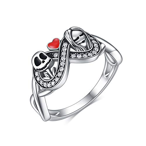 ONEFINITY Nightmare Before Christmas Rings 925 Sterling Silver Jack Skellington and Sally Skull Jewelry Anniversary Promise Romantic Gifts for Her Teen Girls (9)