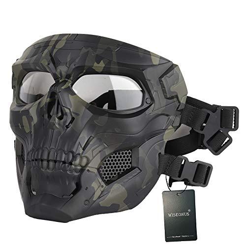 WISEONUS Airsoft Taktisch Schädel Messenger Masken Schutzausrüstung Vollgesichtsmaske für Halloween Jagd Paintball CS Kriegsspiel