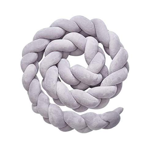 QINGLOU Bettumrandung,Baby Nestchen Kinderbett Stoßstange Weben Bettumrandung Kantenschutz Kopfschutz für Krippe Kinderbett (Grau, 100cm)