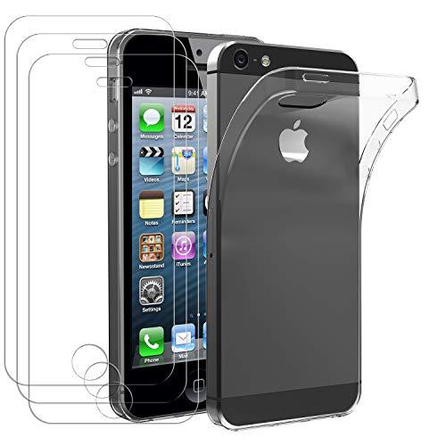 iVoler Custodia Cover per iPhone SE / 5S / 5 + 3 Pezzi Pellicola in Vetro Temperato, Ultra Sottile Morbido TPU Trasparente Silicone Antiurto Protettiva Case per iPhone SE / 5S / 5