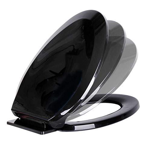 Renovators Supply Manufacturing Black Plastic Toilet Seat Elongated Easy Soft Close Comfortable Ergonomic Slow Closing Lid Adjustable Standard Hinge Fits Most Toilets