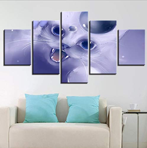 MSHZSH Leinwanddrucke5Stücke,Cartoon Katze Canva Art Hd Drucke Poster Wohnkultur Bilder Wohnzimmer Wand Ungerahmt Größe B.