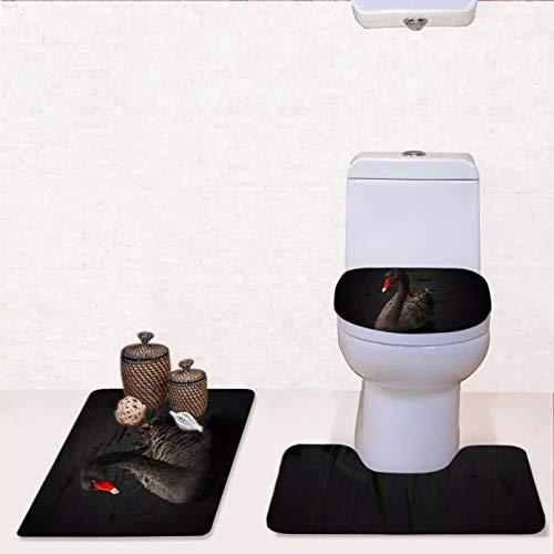 con Relieve 3D Patrones de impresión Populares Estampado de Cisne Fundas de Asiento de Inodoro Alfombras Accesorios de baño Alfombrilla de Suelo Funda de Asiento